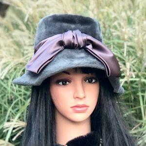 Beautiful Vintage Faux Fur & Satin Ribbon Hat